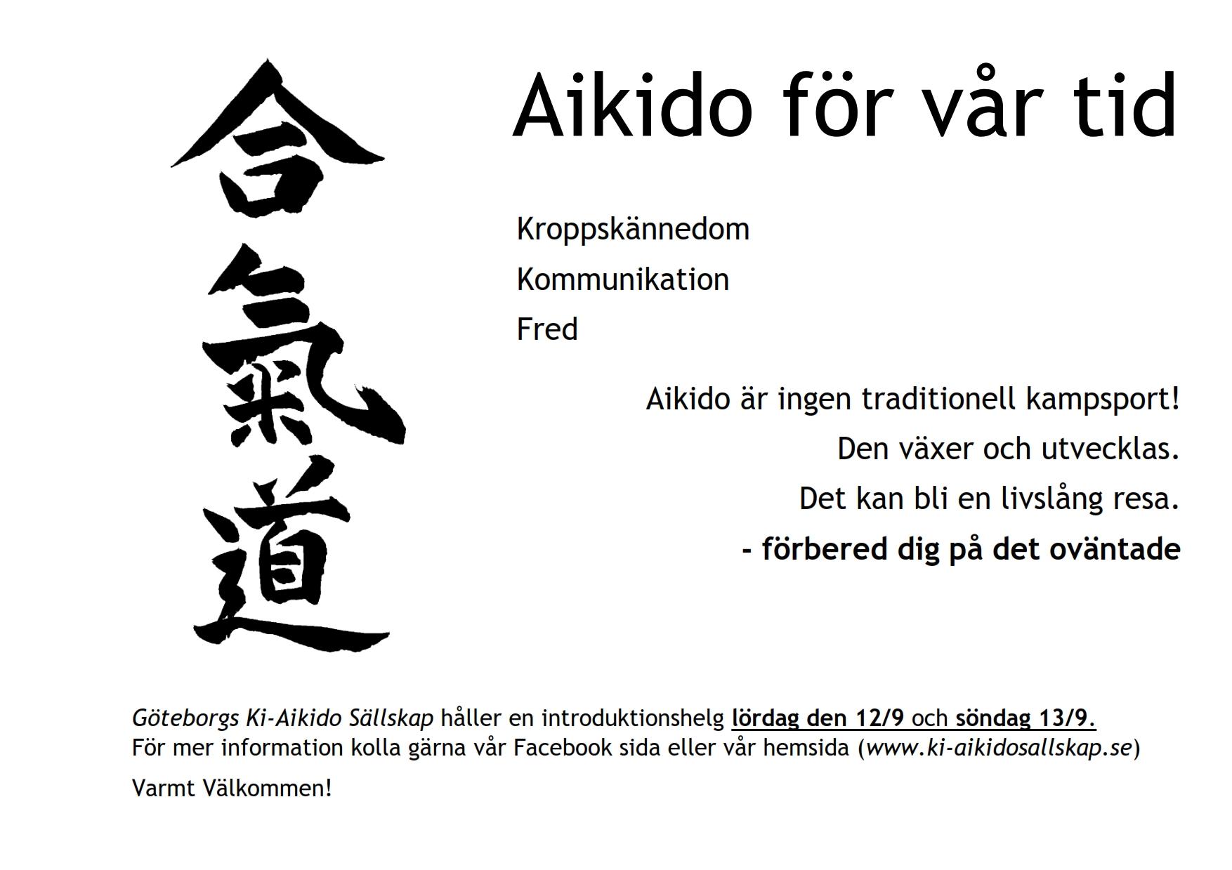 Aikido för Vår Tid: Aikido Introduktionskurs 2020-09-12 - 2020-09-13